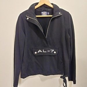 American living black pullover zip sweater